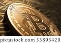 Virtual Coin Bitcoin On Background Of Printed 33893429