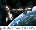 Space Shuttle And International Space Station On 33893457