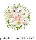 Flower round wreath bouquet pink peach Rose  33893626