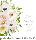 Vector flora design card orchid rose garden flower 33893635