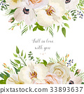 Vector floral card garden Rose Anemone Orchid 33893637