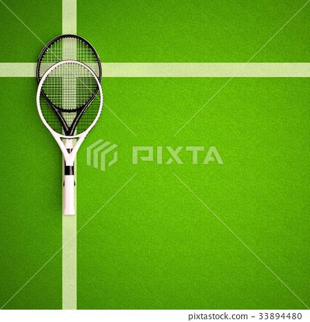 Tennis, rackets, on, hard, surface, court 33894480