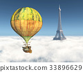 Eiffel Tower and fantasy hot air balloon 33896629