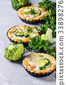 Baked quiche pie with greens 33898276