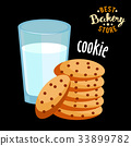 Chocolate chip cookies and glass of hot milk 33899782