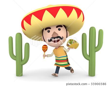 墨西哥和仙人掌與maracas和炸玉米餅 33900386