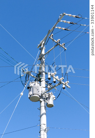 Cable and utility pole (electric pole) 33901144