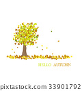 Hello autumn. chestnut with leaves 33901792