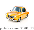 illustration of a funny yellow cartoon retro car  33901813