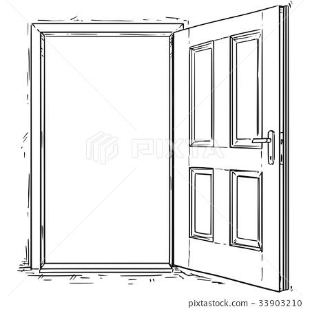 Cartoon Vector of Open Wooden Door 33903210