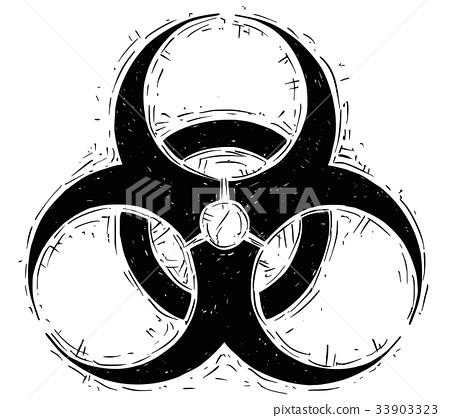 Biohazard Symbol Vector Drawing Stock Illustration 33903323 Pixta