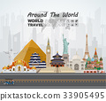 World famous Landmark paper art. Global Travel. 33905495
