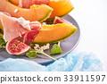 Ripe sweet melon with ham and arugula 33911597