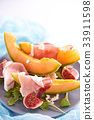 Ripe sweet melon with prosciutto, figgs and 33911598