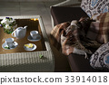 plaid on the sofa and hot tea in table 33914018