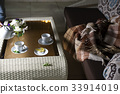 plaid on the sofa and hot tea in table 33914019