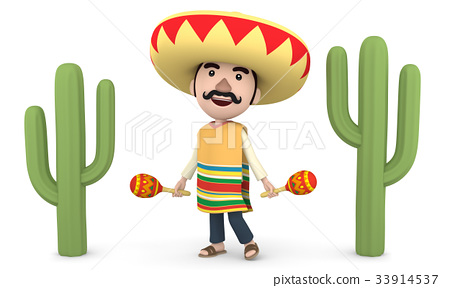 墨西哥與馬拉卡斯和仙人掌 33914537