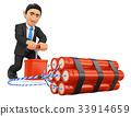3D Businessman detonating a dynamite bomb. TNT 33914659