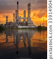 Oil tank and oil refinery factory in Thailand with smoke and fra 33914904