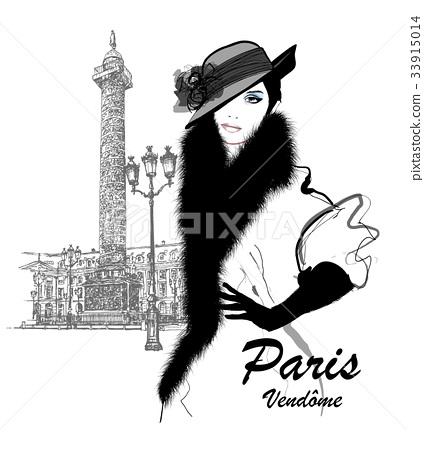 Fashion model nearby Vendome column in Paris 33915014