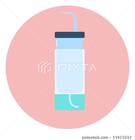 Flat vector water flosser, blue oral irrigator 33915932