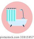 Flat blue shower bath and shower curtain, bathtub 33915957