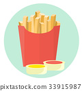 Flat vector french fries potato 33915987