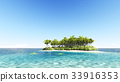 Tropical island with a clear sky 3D render 33916353