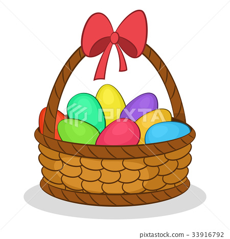 Easter Basket with Painted Eggs 33916792