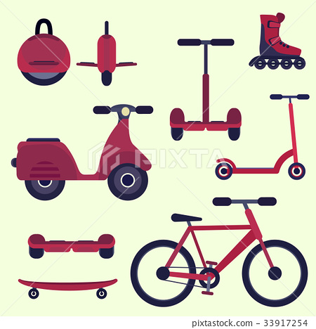 Flat cherry red fashion youth city transport set 33917254