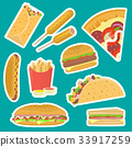 sticker, fastfood, vector 33917259
