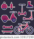 Flat cartoon fashion city transport stickers 33917290