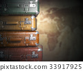 Suitcases on  map background.Turism travel concept 33917925
