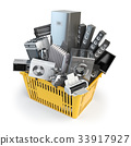 Kitchen appliances in the shopping basket.  33917927