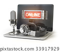 laptop, microphone, online 33917929