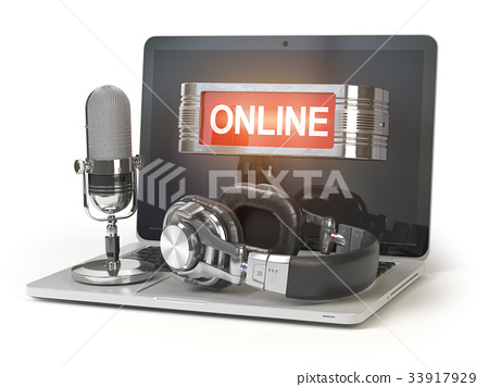 Online support. Laptop with microphone, headphones 33917929