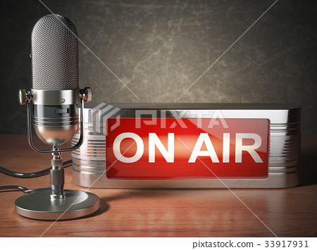 Microphone with signboard on air. Broadcasting  33917931