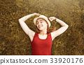 cute happy girl on grass autumn 33920176