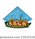 Takoyaki tasty japanese food, vector illustration 33920328