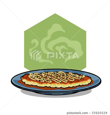 Okonomiyaki tasty japanese foo vector illustration 33920329