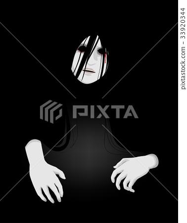 something creepy in the dark, vector illustration  33920344
