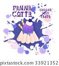 Panna Cotta Blueberry Dessert Colorful Icon Choose 33921352