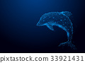 Wireframe dolphin mesh from a starry background 33921431