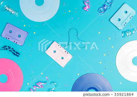 Musical objects on a blue background 33921864