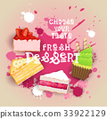 Fresh Desserts Set Banner Colorful Cake Sweet 33922129