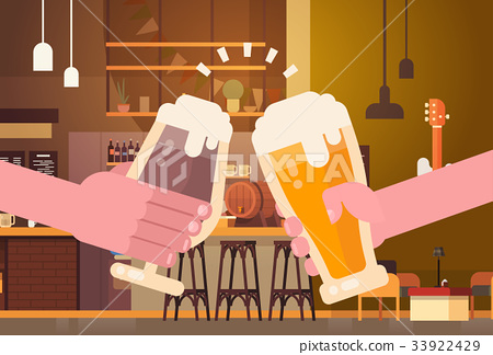 Hands Clinking Beer People In Pub Or Bar 33922429