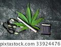 Marijuana leaf and joint on a dark background 33924476