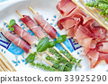 Plate With Prosciutto Breadsticks And Basil 33925290