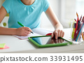 girl with tablet pc writing to notebook at home 33931495