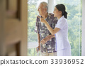 a nurse is pointing something to a senior man 33936952